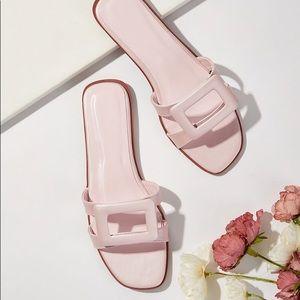 Light Pink Open Toe Slider Sandals